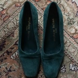 Vintage Stephane Kelian Teal Suede Shoes